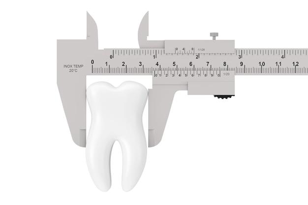 흰색 바탕에 하얀 치아가 있는 금속 버니어 캘리퍼스. 3d 렌더링