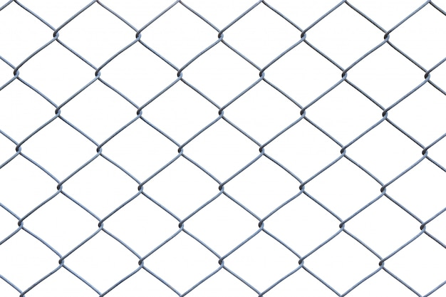 Metal wire fence or cage on white background with clipping path
