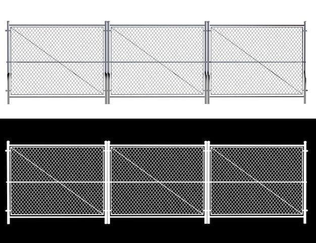 금속 와이어 울타리-절연 화이트 절연 와이어 울타리입니다. 알파 채널이 있는 3d 렌더링