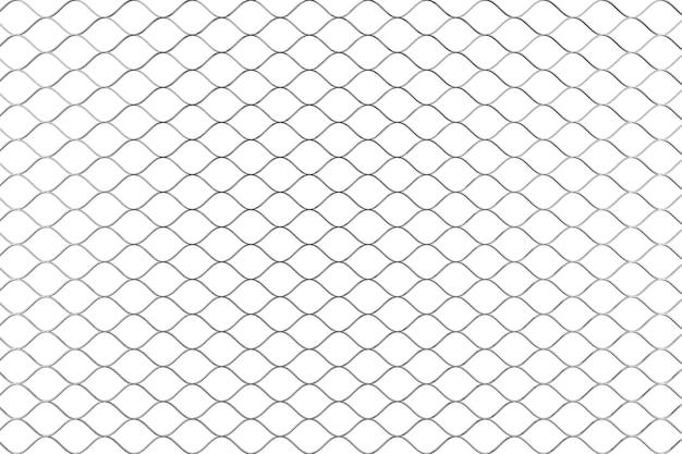 흰색 바탕에 금속 유선 울타리 패턴입니다. 3d 렌더링