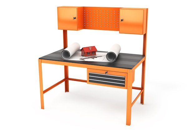 Metal work bench on a white background