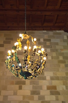 Metall chandelier in the grand master palace at rhodes island, greece