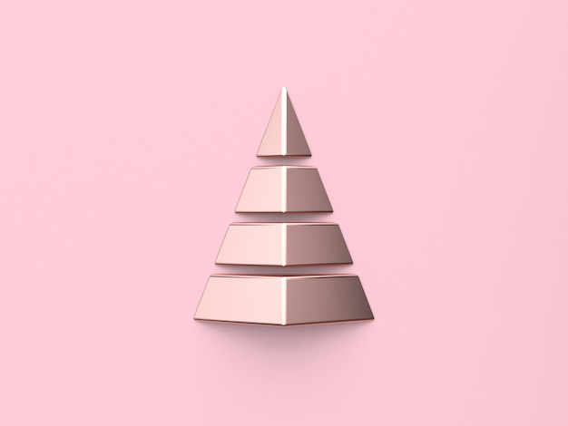 Metallic abstract christmas tree geometric shape christmas new year 3d render pink background