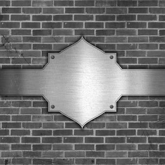 グランジスタイルの金属とレンガの背景