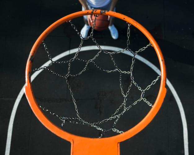 Metallic basketball hoop top view
