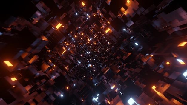 공상 과학 및 기술 혁신 장면에서 광고를 위한 금속 블록 공간 배경