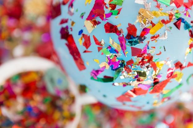 Metallic confetti on balloon