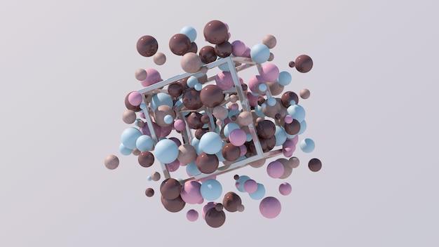 Металлические кубики и глянцевые красочные шары летают
