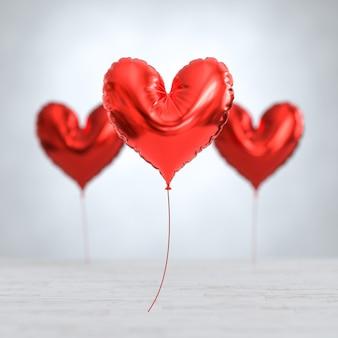 金属箔の赤いハート型の風船、バレンタインデーの背景。 3dイラスト