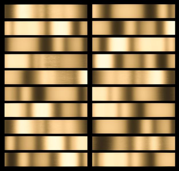다른 유형의 금속 금 닦 았된 질감입니다. 블랙 프레임. 3d 렌더링