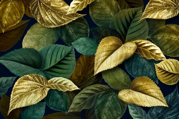 Metallic gold and green leaves textured background