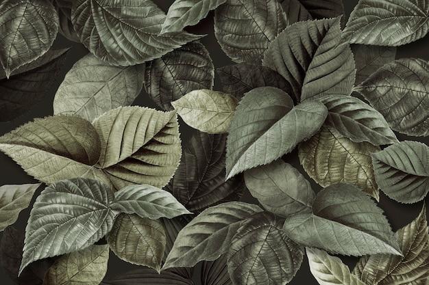 Metallic green leaves textured background