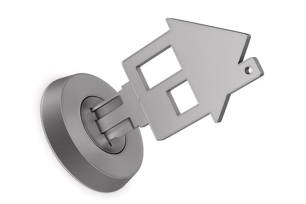 Metallic key on white surface. isolated 3d illustration.