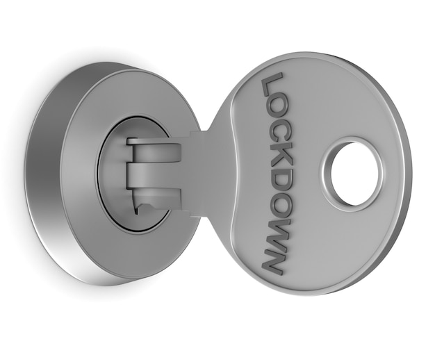 Metallic key with text lockdown. isolated 3d rendering