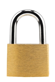 Metallic lock golden color. isolated on white background. shot on the stack