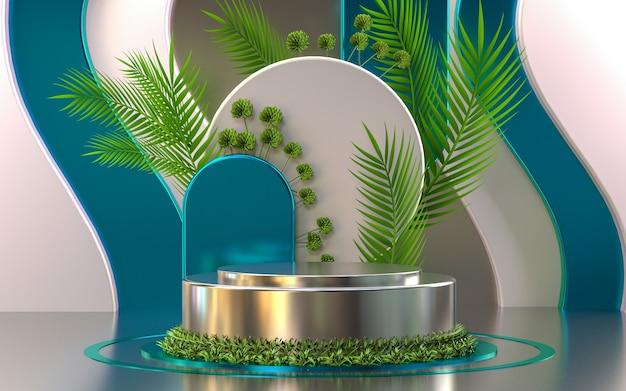 제품 프리젠 테이션 3d 렌더링 빈 디스플레이를위한 금속 모양의 녹색 잎 연단 무대