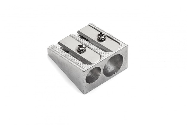 Metallic pencil sharpener with double hole isolated on white
