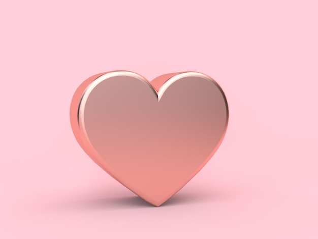 Металлическое розовое сердце любовь валентинка концепция 3d рендеринг