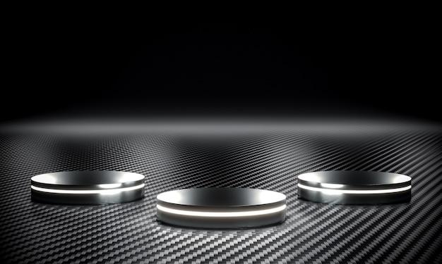 Металлический подиум со светодиодной подсветкой и углеродным волокном