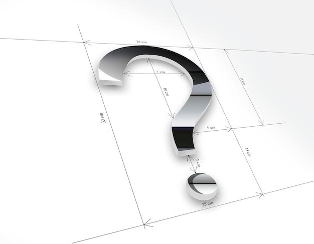 Металлический вопросительный знак с мерным рисунком на бумаге