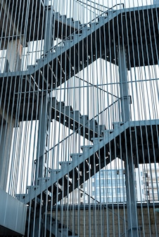Metallic railing on sunny day
