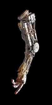 黒の背景に分離された機械部品から手作りの金属ロボット