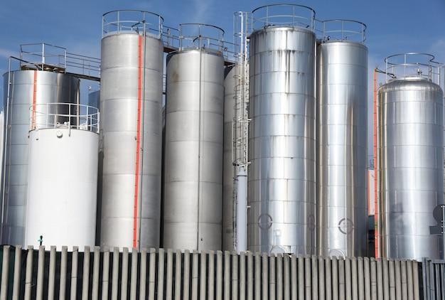 Metallic silos of a chemical plant
