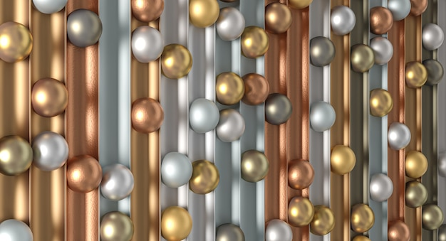 さまざまな素材の金属球ミニマリストの抽象的な背景。 3dレンダリング。