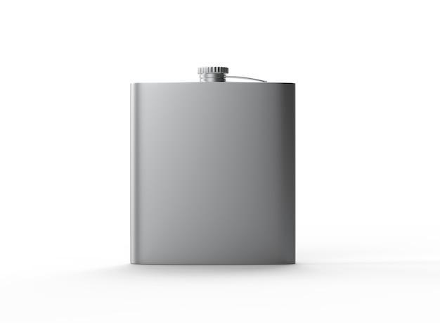 液体アルコールウイスキーとコニャック用の金属ステンレス鋼フラスコ3d金属容器