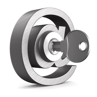 Metallic symbol email and key on white.