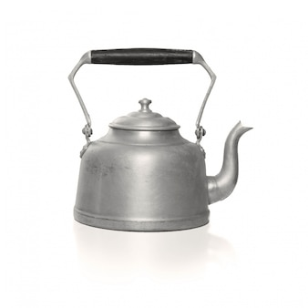 Metallic teapot with black handle