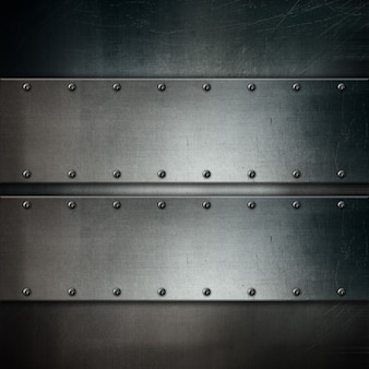 Metallic texture with grunge style metal plates and screws