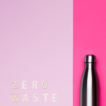 Metallic thermos with copy space and zero waste lettering