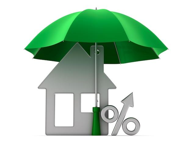 금속 악세사리 집과 우산 아래 비율. 절연, 3d 렌더링