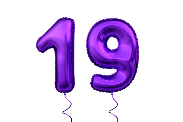 Metallic violet letter balloon numeral digit number birthday 19