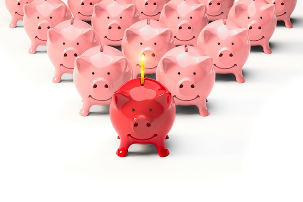 Metaphor, leader red piggy bank and pink followers