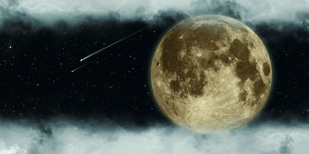 Meteor and full moon cloudy night 3d illustration