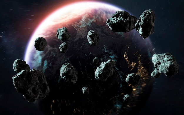 Метеоритный дождь и земля, последние дни планеты, потрясающие обои из научной фантастики. элементы этого изображения, предоставленные наса