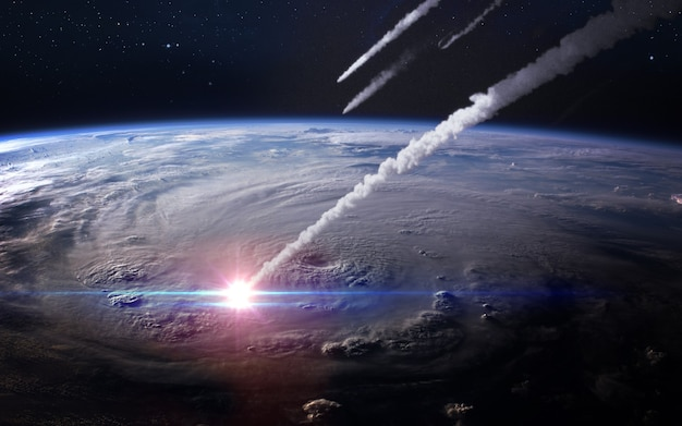 Meteor shower in the earth's atmosphere.