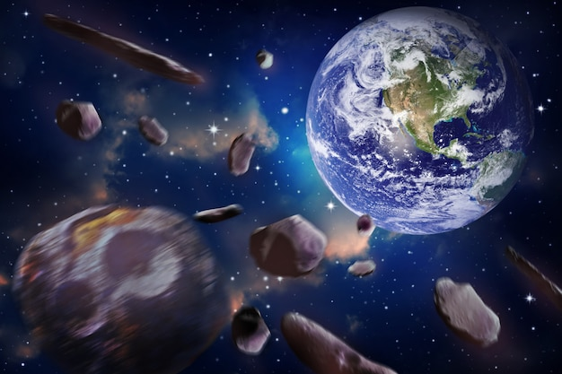 Meteorite impacts the earth