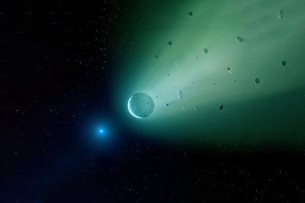 A meteorite in outer space. elements of this image were furnished by nasa. for any purpose.