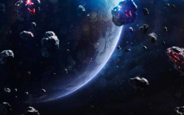 Метеориты. изображение глубокого космоса, фантастическая фантастика в высоком разрешении идеально подходит для обоев и печати. элементы этого изображения, предоставленные наса
