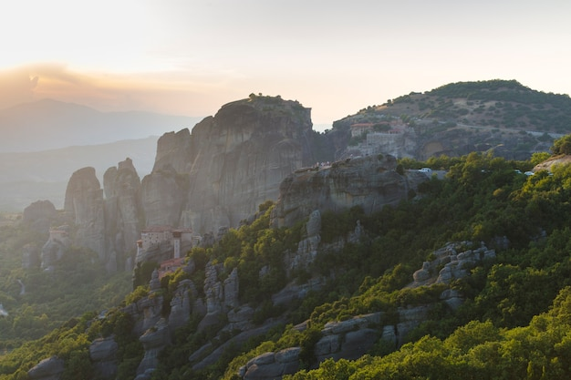 Meteors monasteries in greece in high mountains on the sunset, background