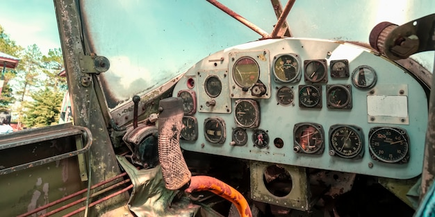 Meter panel in cockpit in old helicopter