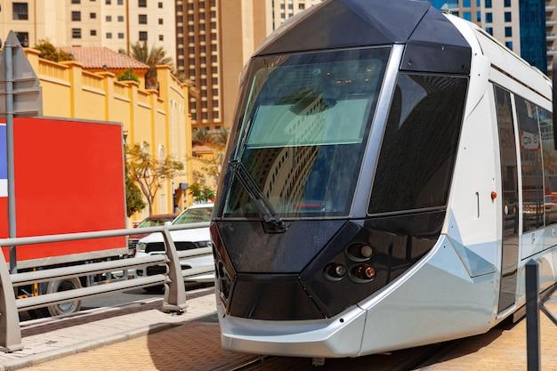 Metro railway train in dubai city in uae