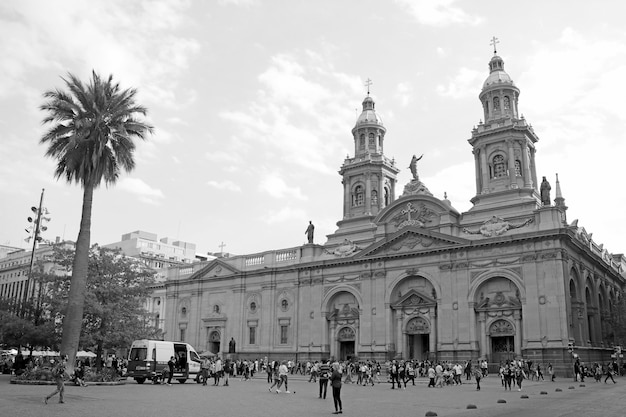 Metropolitan cathedral of santiago on plaza de armas square of santiago city chile in monochrome