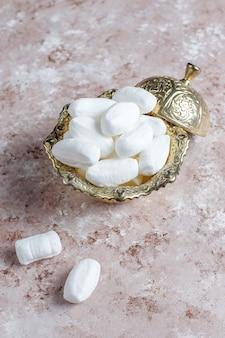 Zucchero mevlana, zucchero candito specifico per la turchia, vista dall'alto