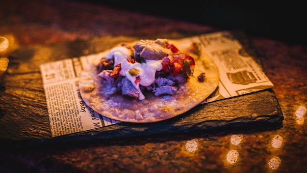 야채와 멕시코 쇠고기 타코