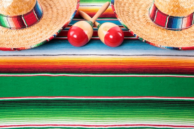 Mexican blanket with two sombreros