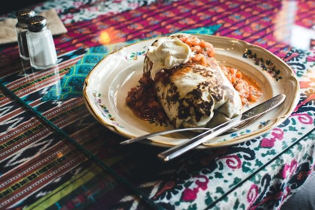 Mexican burrito in restaurant